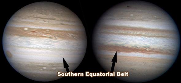 2009年7月拍到的图片(右)相比,本月拍到的木星图片显得异常光秃。目前木星上的暗红色南赤道带已经消失不见,不过科学家并不清楚是什么原因导致这一现象发生。这两张照片具有不同色调,这是因为它们是在相隔一年的两个不同时间拍到的。