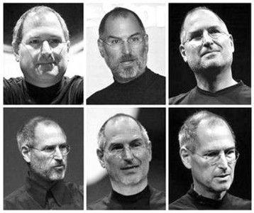 從上至下從左至右依次是喬布斯2000、03、05、06、07、08年的照片,因健康問題明顯變瘦