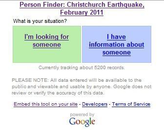 新西蘭地震尋人頁面