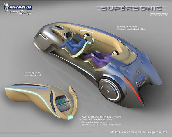 驾驶仪表盘设计采用了一种独特的拉长状结构,在自动驾驶模式下可以缩进车前身以便节约车内空间
