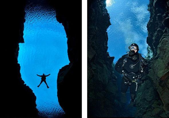 马斯塔德先生游过这里的三个海底峡谷:Silfra, Nes 和Nikulasargja,这些峡谷深度都超过200英尺