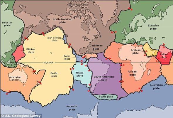 地球的运动:地壳分成不同的板块,马斯塔德先生此次拍摄的照片就位于北美和亚欧大陆板块之间
