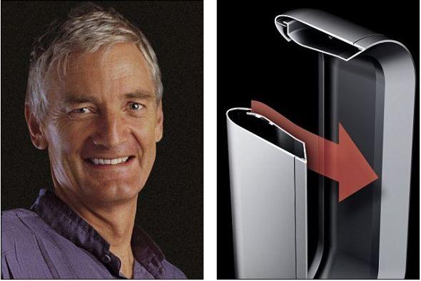 左为詹姆斯-戴森,右为戴森公司研制的新型加热器Dyson Hot,可大幅放大产生的热气