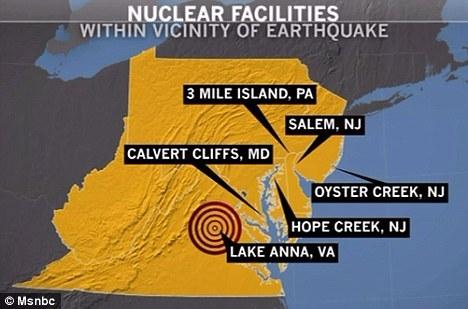 8月的地震中,距离震中大约10英里(约合16公里)的一座核电站被迫关闭