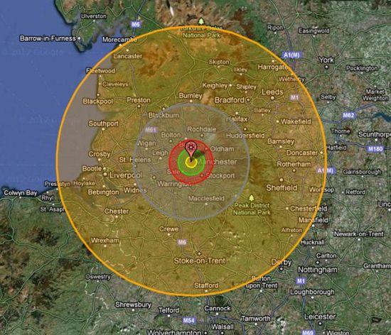 """""""核地图""""图片显示,一枚沙皇氢弹将给整个西北部地区造成毁灭性打击。"""