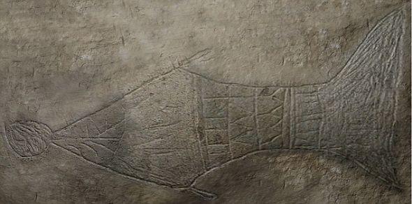 在一座1世纪墓葬内发现的鱼图。考古学家认为这个墓穴就是耶稣的最终安息地