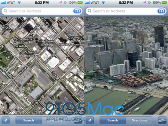 一般地图(左)与3D地图(右)对比