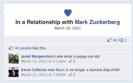 这对恋人终于在Facebook上承认了恋爱关系