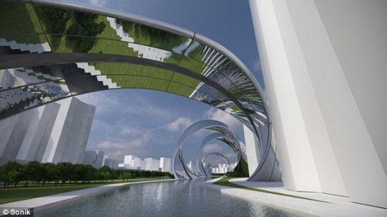 这个镜像设计会反射河流,让人们看到,从而创造出一个非常迷人的远景。
