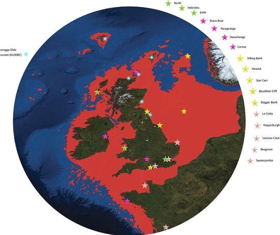 英国地图。随着海平面上升,北海面积逐渐扩大,陆地则持续萎缩