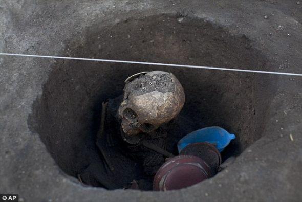 儿童骸骨的周围摆放着宗教器物,同时还有一条狗的遗骸。狗作为祭品杀掉,陪伴这些亡灵 图3