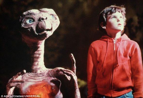 1982年影片《E.T。》剧照。这部影片围绕一个被困在地球的外星人展开
