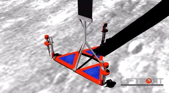 登月舱随后会被固定在月球上,组成月球和基地之间的一个连接点