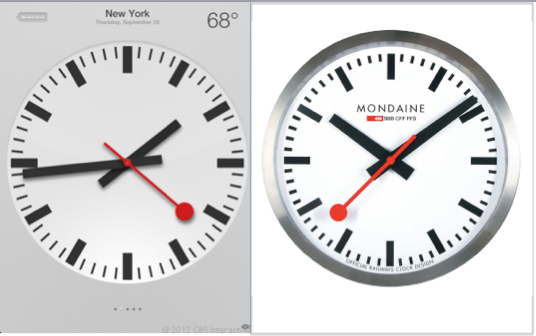 苹果iPad时钟(左)与瑞士国铁商标(右)