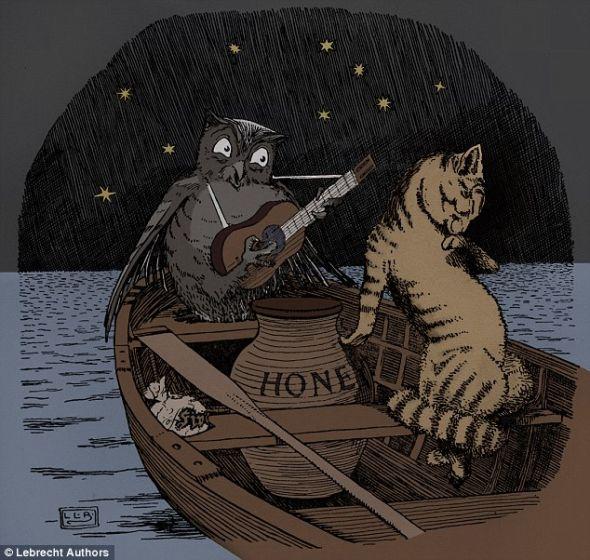 在李尔的著名诗歌《猫头鹰和小猫》中,这对非常和睦的新婚夫妇坐在一艘划桨船上,沐浴在月光中。它们的关系和明尼苏达州荒野中的生存之战形成鲜明对比。