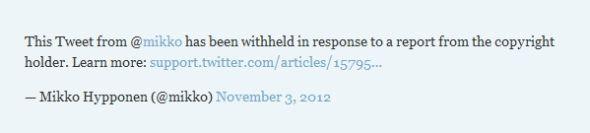 如果一条Twitter消息涉嫌侵权,那么Twitter会将其隐藏,并显示一条版权信息