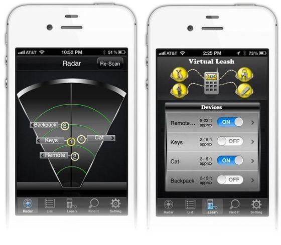 "Stick-N-Find智能手机应用包括一个类似雷达的屏幕和""虚拟牵引绳""的功能"