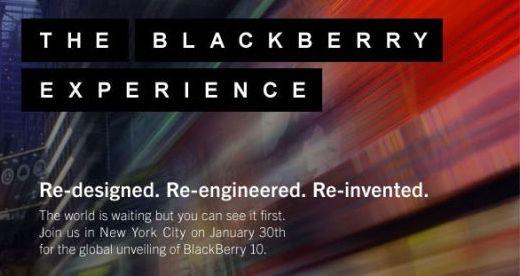 RIM周一向媒体发出邀请函,宣布2013年1月30日召开黑莓10发布会