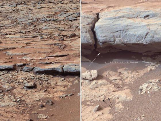 左侧的图像是由好奇号桅杆相机(Mastcam)拍摄的,显示盖尔陨石坑内部黄刀湾区域的层状沉积岩;而右侧的图像是对左侧图像中方框部分的放大,在右侧的放大图中可以看到,白色箭头指示的是出露的脉体,而黑色箭头所指示的则是结核体,即小型的圆形矿物结核体,这些都是水体沉积的强烈证据