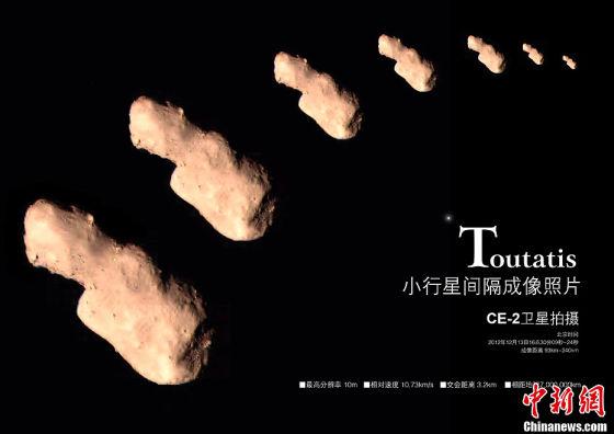 近地小行星4179号图塔蒂斯,2012年12月13日我国嫦娥2号探测器飞越并拍摄了它的近距离照片