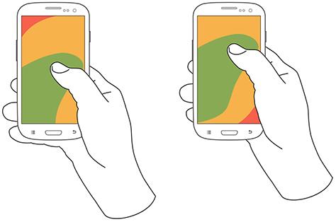 在单手持握手机的人当中,67%的会用右手大拇指触摸屏幕