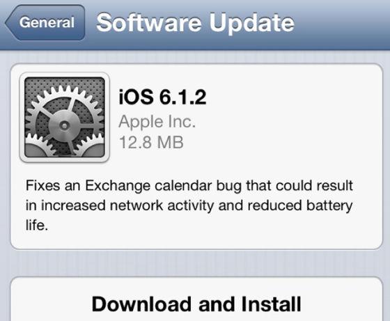 苹果今日推送iOS 6.1.2固件升级
