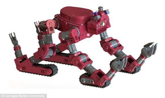 CHIMP的四肢装有履带,能够像坦克一样行进,应对崎岖路面