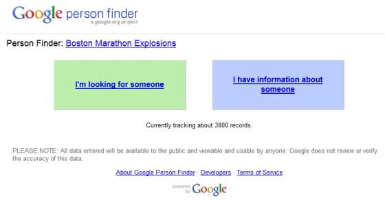 波士顿爆炸案后谷歌推出的寻人服务截图