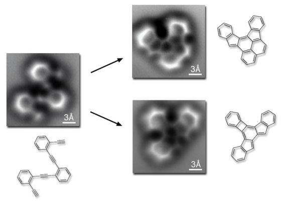 这是一个含有碳原子的环状分子,图片显示了其重新排列前后的形态,右边即两种最常见的反应产物。比例尺为3埃(即埃格斯特朗Angstrom,符号Å,一般用于表示原子半径、键长和可见光波长,1Å=0.1纳米)。