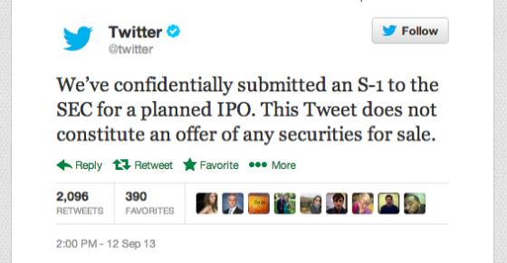 推特宣布已向SEC提交IPO上市文件