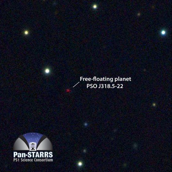Pan-STARRS1望远镜获取的流浪行星PSO J318.5-22多彩色图像。这颗行星非常寒冷暗弱,比金星的可见光波段亮度低大约1000亿倍。其大部分能量辐射集中在红外波段。这张图像边长覆盖大约125角秒