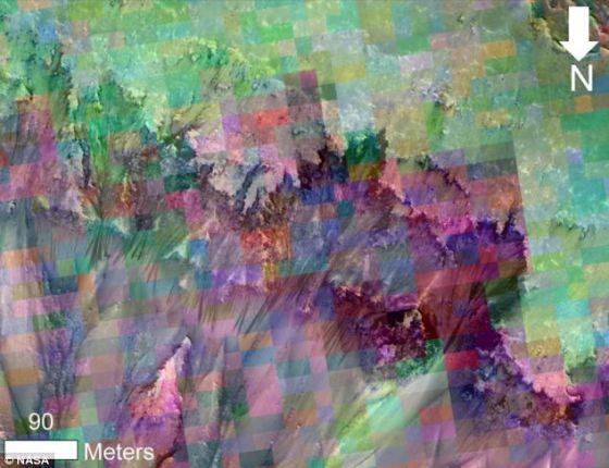 是不是火星上的河流?这张图片与火星斜坡上的季节性流动纹路照片相结合,它上面的彩色格子是根据一个矿物填图分光计对相同区域进行观测获得的数据得出的。美国宇航局认为,它暗示着这个区域存在含盐液态水。图中的紫色和粉色象征着波长在920纳米和530纳米之间的光的吸收光谱,研究人员表示,这暗示着三价铁的浓度,以及这个区域存在水流的线索