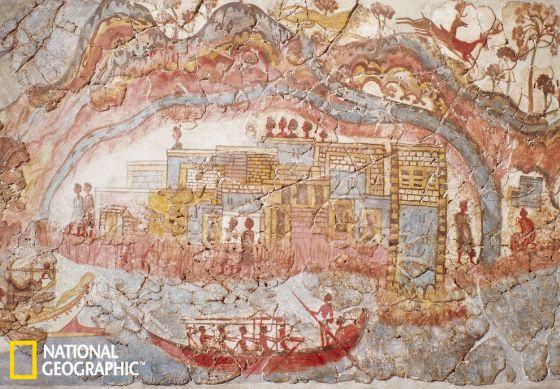 这张米诺斯壁画描述的是一艘停泊在港口里的船
