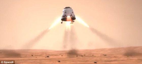 """4月这家公司进行了一项十分成功的火箭测试,这期间它从佛罗里达发射一枚 """"鹰隼9""""号两级火箭,在这之前,这项测试的时间被3次推迟。这张插图显示了太空探索技术公司的飞船在火星上降落时应该是什么样子的。"""