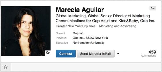 Gap全球营销主管马塞拉·艾吉拉的LindedIn档案