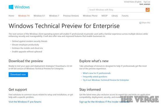 微软最新操作系统命名曝光:或为Windows TH