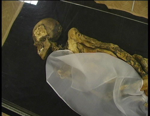 1993年,俄罗斯考古学家在阿尔泰山脉的一处巨大冰盖中发现了一具至今2500多年的女性干尸。这具尸体在冰盖中保存完好,甚至连皮肤上的纹身都清晰可见。