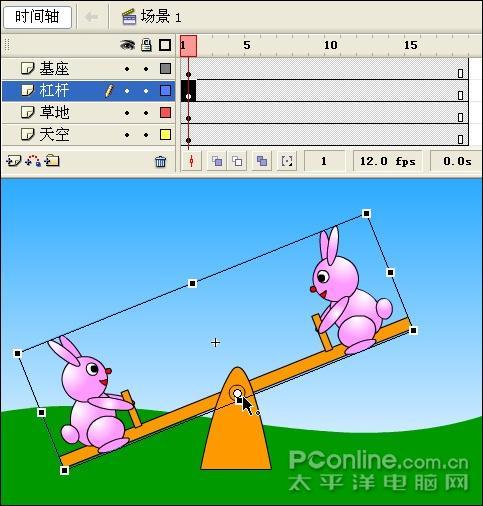 flash制作可爱小兔子跷跷板动画(7)_软件学园
