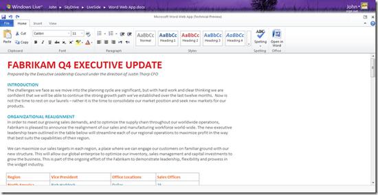 微软web版office界面预览之word图片