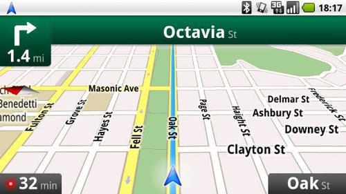 图为谷歌地图导航系统界面