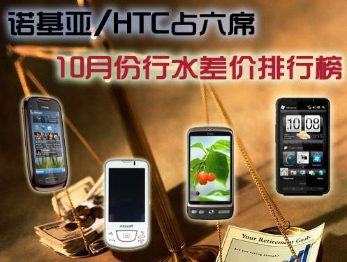 诺基亚/HTC占六席 10月份行水差价排行榜