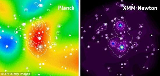 普朗克太空望远镜收集的数据显示,一个超级星系簇(左)与宇宙微波背景形成鲜明对比,它的结构非常紧凑,该星系簇通过欧洲航天局的牛顿X射线天文台收集的数据(右)得到证实
