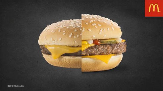 麦当劳汉堡包拍摄对比图