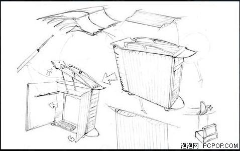 手绘机箱内部结构图