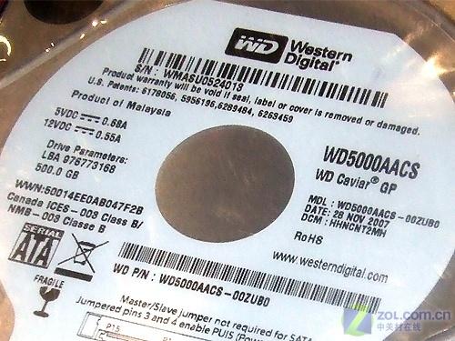 节能环保西数500GB可变速硬盘850元