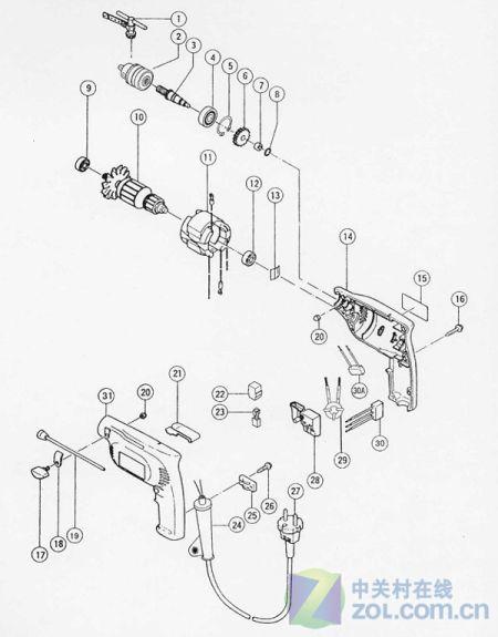 东成手电钻的结构说明图