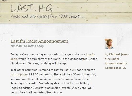 科技时代_Last.fm音乐电台将实施收费制度每月27.6元