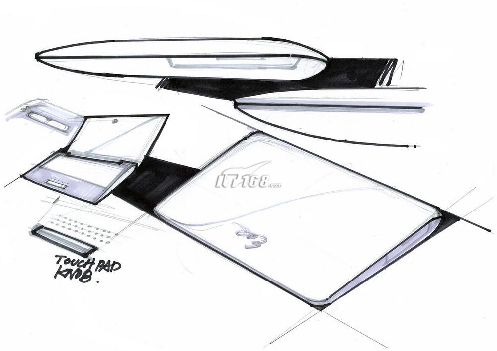 5mm,为10寸产品之最.   华硕贝壳机原始设计稿(点此查看大图)图片