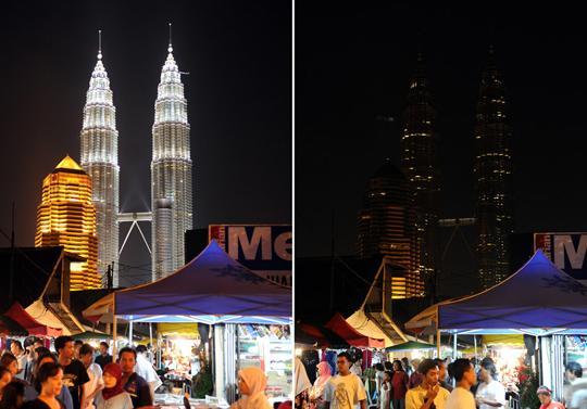 科技时代_图文:马来西亚吉隆坡双子大厦熄灯前后