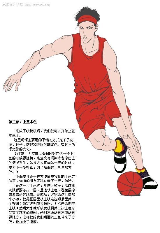 photoshop手绘帅气篮球运动员详解